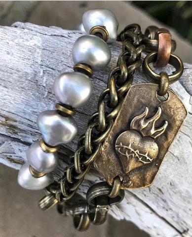 Mixed Metals and Pearls Bracelet/Necklace