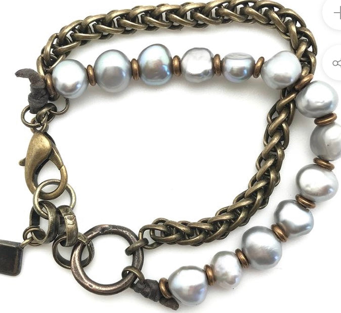 Double Chain and Pearl Bracelet