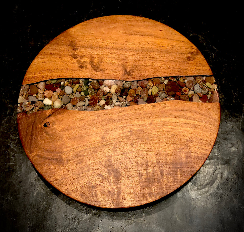 Wood with Riverstone Inlay Lazy Susan
