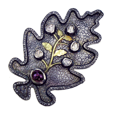 Sedoni Collection Diamond Leaf Pin