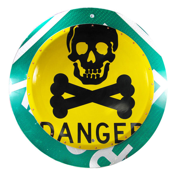 boris bally sale, boris bally art, boris bally danger, danger sign, street signs, street sign art, recycled art, upcycled art, traffic signs, traffic sign art, skull and crossbones art, sedoni gallery boris bally