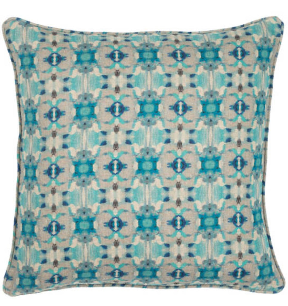 Decorative Blue Linen Pillow