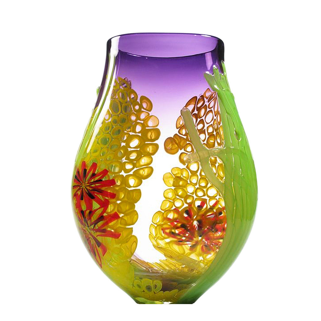 David Leppla Purple Seascape Vase, David Leppla glass, David Leppla art glass, David Leppla vase, David Leppla sedoni gallery