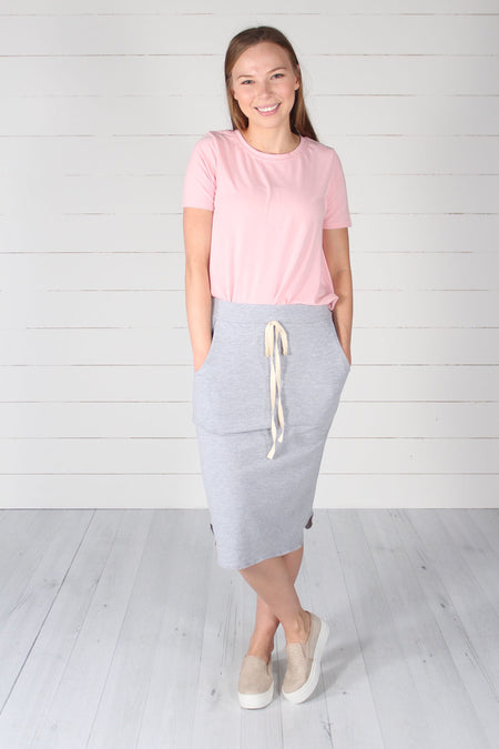 Channing Pencil Skirt- Lilac Grey