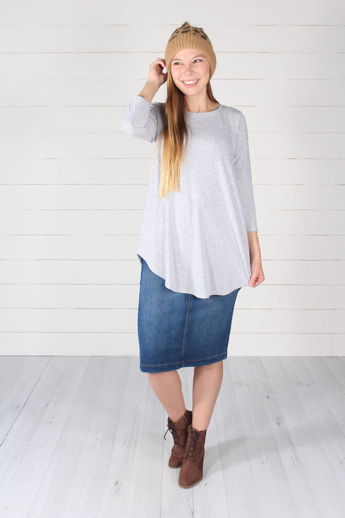 Giovanni Top- Heathered Grey