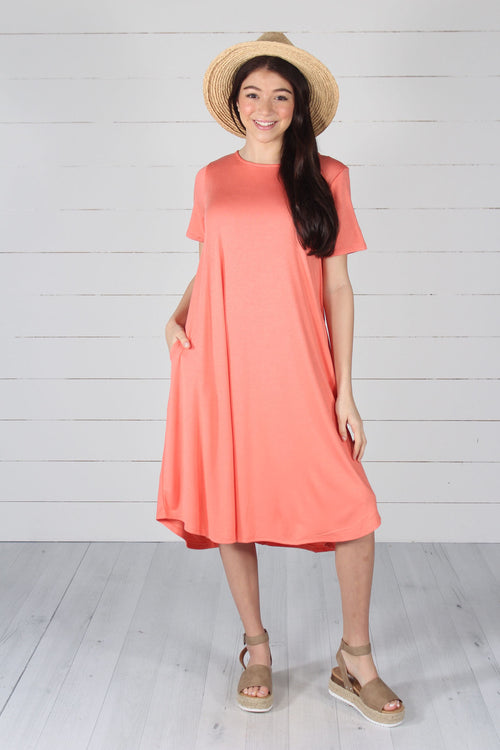 Harper Dress- Deep Coral