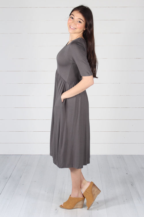 Maddie Dress -  Mid Grey