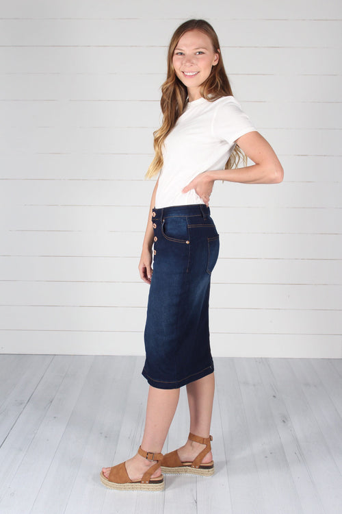 Bennett Denim Skirt-Dark Indigo