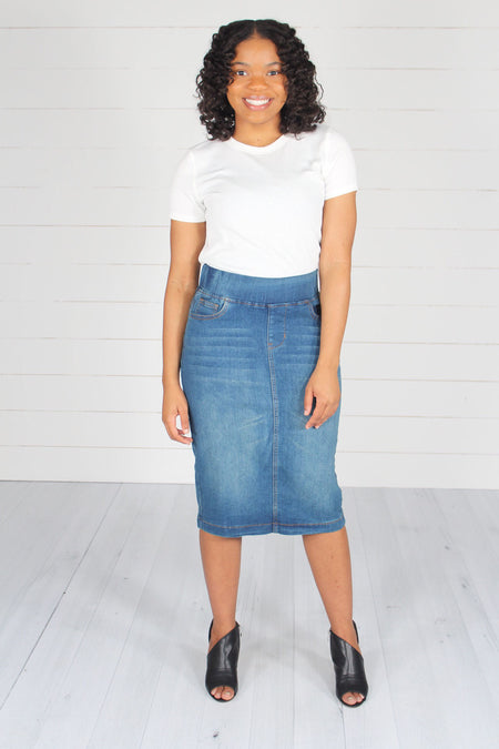 Harlem Button Skirt- Light Denim