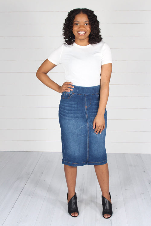 Owen Denim Skirt-Indigo Wash