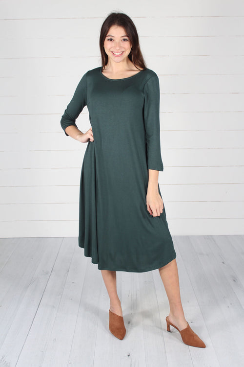 Hailey Dress- Hunter Green