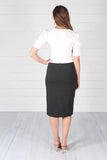 Lincoln Pencil Skirt- Charcoal