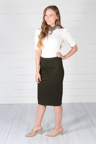 Lincoln Pencil Skirt- Olive
