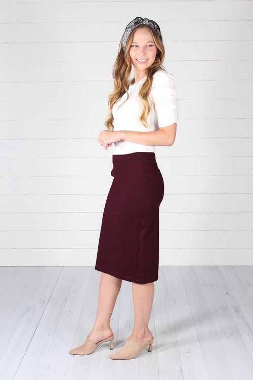 Lincoln Pencil Skirt- Burgundy