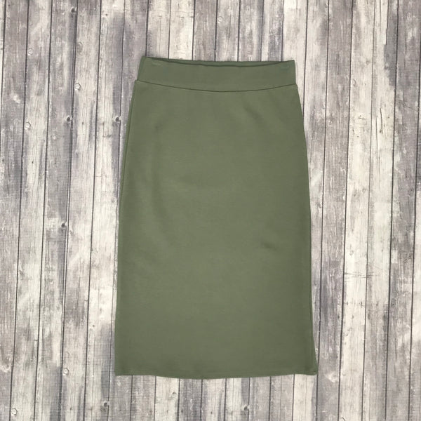 Channing Pencil Skirt- Lt. Olive