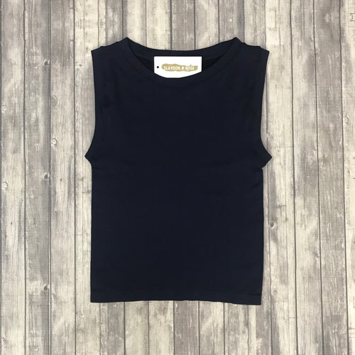 Cropped Seamless Tank- Navy