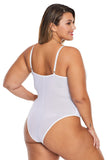 White Cross Front Lace Detail Plus Size Teddy