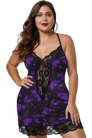 Multicolor Venecia Chemise with Lace Trim