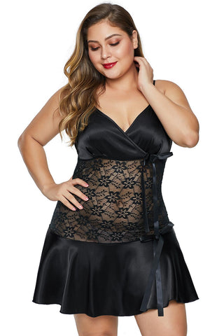 Black Wrapped V Neck Floral Lace Abdomen Plus Size Babydoll
