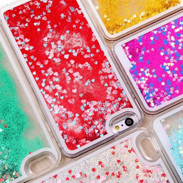 Thick Hearts Liquid Glitter iPhone Case