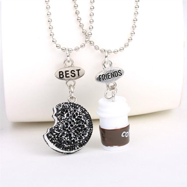 Best Friends Coffee Glitter Biscuit Bead Chain Necklace Pendant