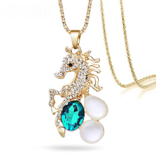 Unicorn Horse Blue Crystal Opals Golden Long Chain Necklace