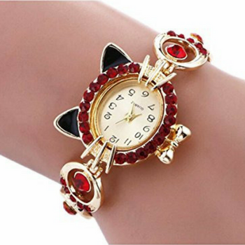 Gold Plated with Crystal Cat Watch - 50% OFF