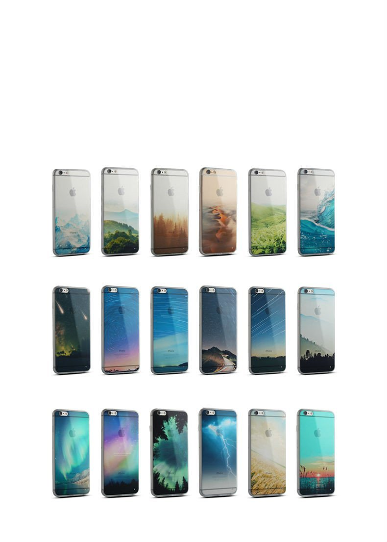 Soft Silicone Mountain Back Cover Case For iPhone