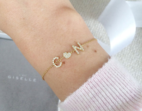Petit ID Armband - Weissgold, Gelbgold, Roségold <br>funkelnde Diamanten - Giselle Jewelry CH - 2