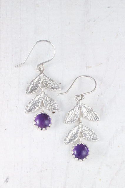 silver leaf amethyst earrings