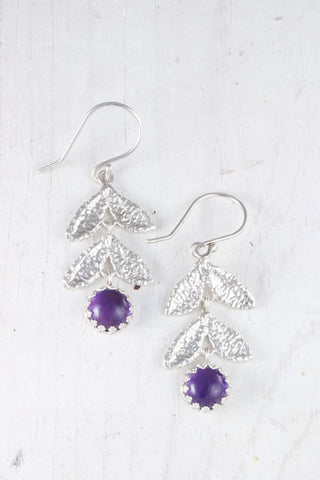 Silver amethyst leaf earrings
