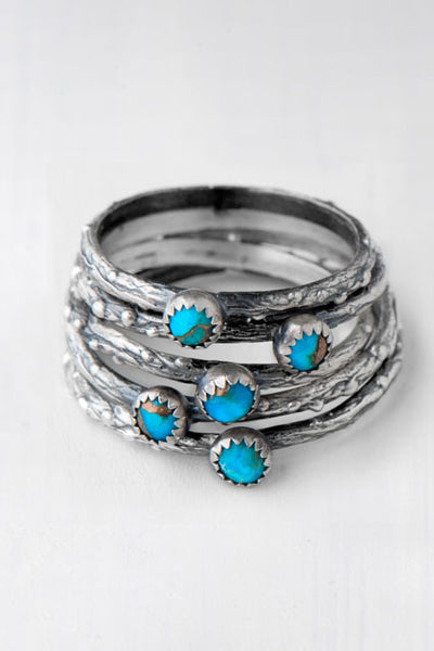turquoise twig stacking rings