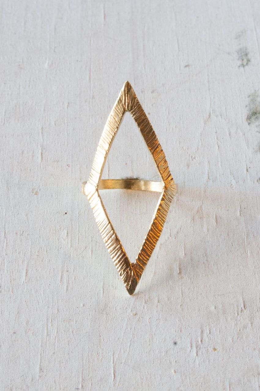 Deco Diamond Brass Ring