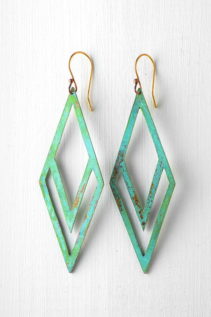 Green and gold deco diamond shaped earrings