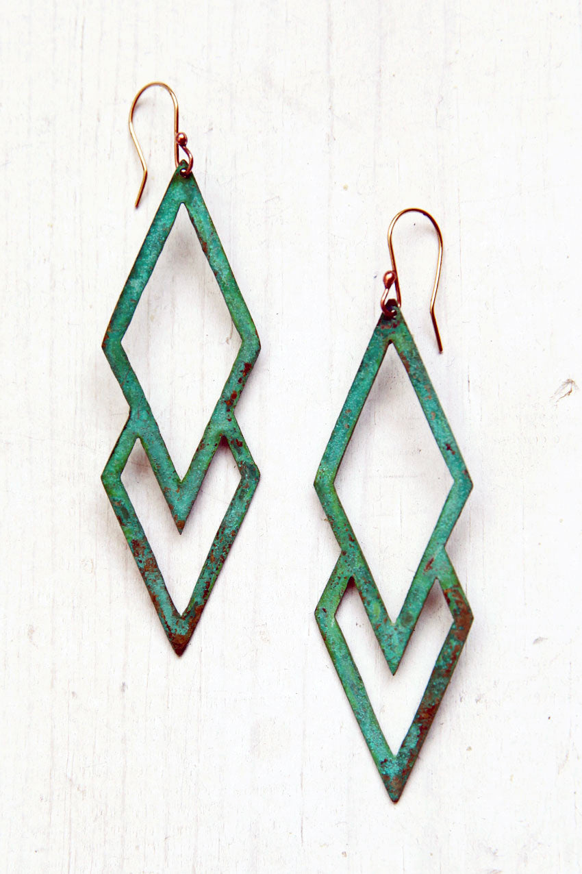 Green and Gold Fancy Deco Earrings