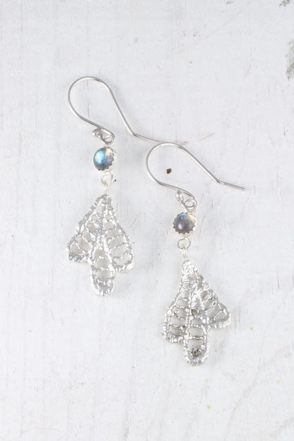 Labradorite silver leaf earrings