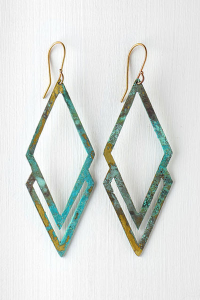 diamond shaped green and gold earrings