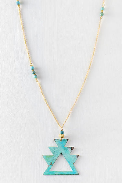 Green and gold tribal necklace with turquoise