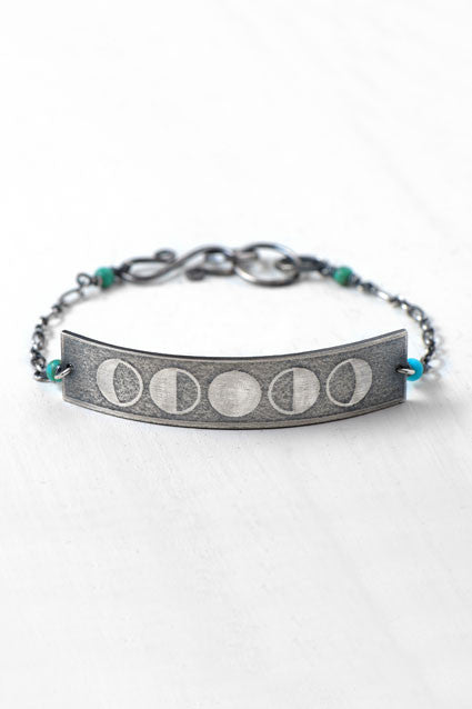 silver moonphase bracelet with turquoise
