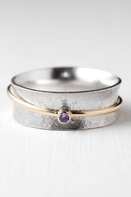 purple sapphire spinner ring