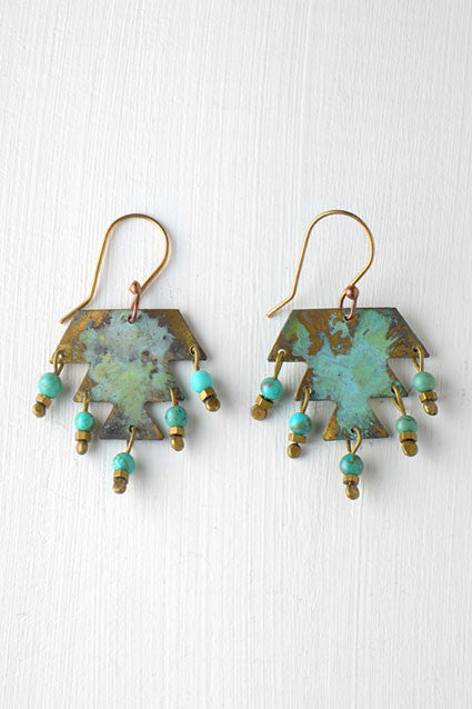 green and gold tribal earring short