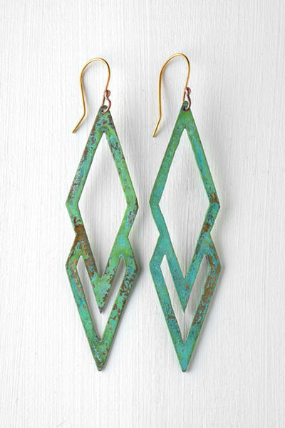 green and gold colored diamond shaped earrings