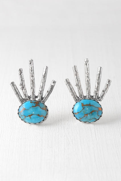 turquoise and silver starburst posts