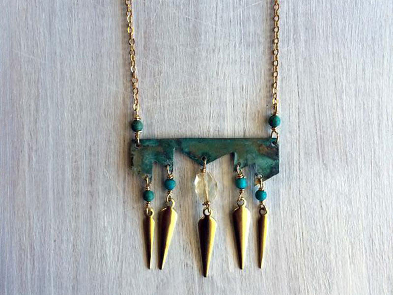 tribal necklace with turquoise and citrine