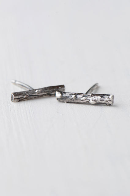 silver twig post earrings