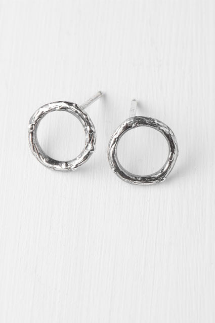 silver twig circle stud earrings