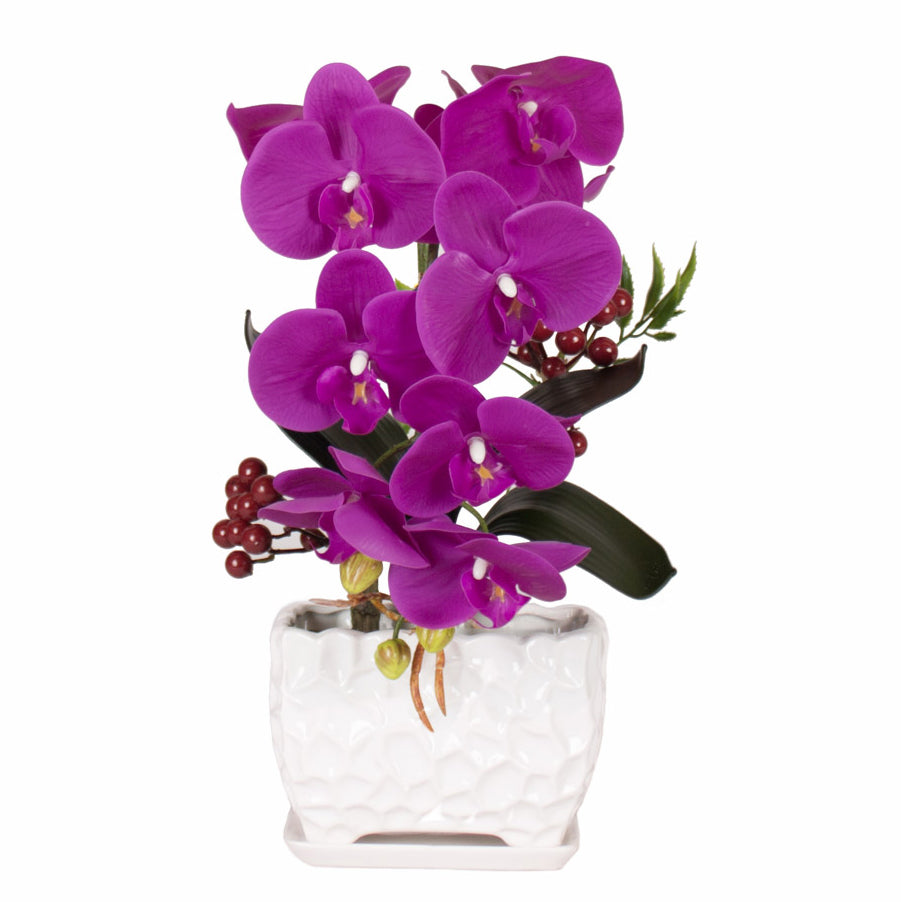 Orchid Small Artificial Flower With Ceramic Vase Rlt