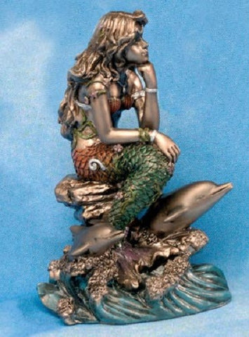 Figurine   Mermaid Small Sitting with Dolphin