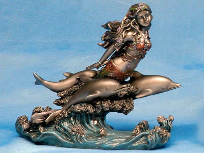 Figurine   Mermaid With Dolphins On Wave