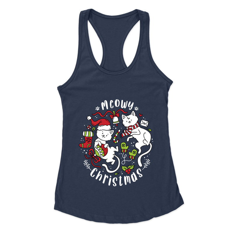 Meowy Christmas (Two Cats) - Racerback Tank